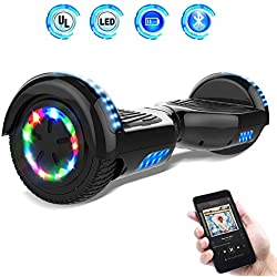 """Hoverboards 6.5"""" Balance Board Patinete Eléctrico Scooter Talla LED 350W*2 (Black, 6.5)"""