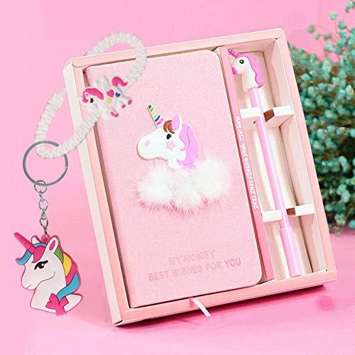 Juego de bolígrafos de gel para cuaderno - lindo unicornio diario papelería Set regalo de cumpleaños para niñas juguetes de escritura de todas las edades: 3 4 5 6 7 8 9