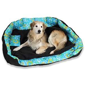 tectake lit douillet pour chiens panier corbeille couchage xxl noir bleu animalerie. Black Bedroom Furniture Sets. Home Design Ideas