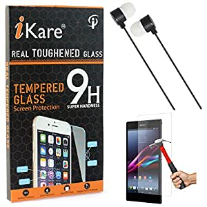 iKare Tempered Glass for Sony Xperia Z Ultra, Tempered Screen Protector for Sony Xperia Z Ultra + Black Stereo Earphone with Mic