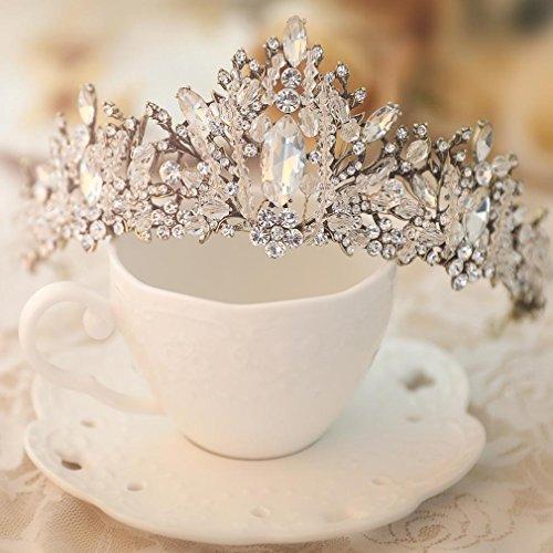 handcess Barock Hochzeit Krone Tiara Strass Blume Haar-Accessoires für Braut und Brautjungfer