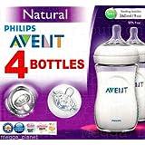 4x Philips Avent 260ml, Baby Fläschchen Serie Natural–Anti-Kolik-Ventil, BPA frei. Kombinieren natürlichen Stillen und flaschenfütterung