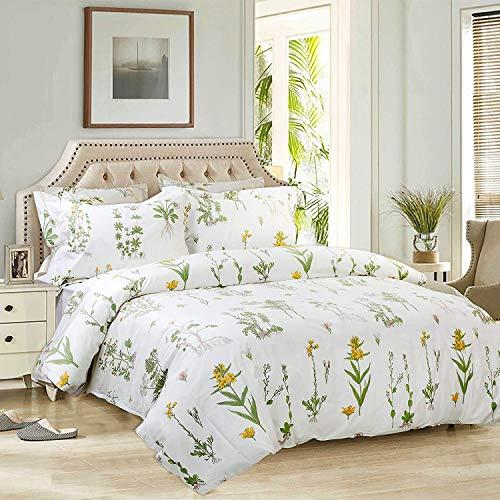 Seepong Floral Bettbezug-Set 100% Hypoallergene Baumwolle Weiße und Grüne Bettwäschesatz 3-teilig Bettbezug (1 Bettbezug 200x200cm 2 Kissenbezüge 50x75cm) -