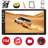 Doppelt Din Autoradio Bluetooth, 7 Zoll Touchscreen MP5-Multimedia-Player USB SD AUX Eingang,Auto Radio FM,Link spiegeln,mit Rückfahrkamera