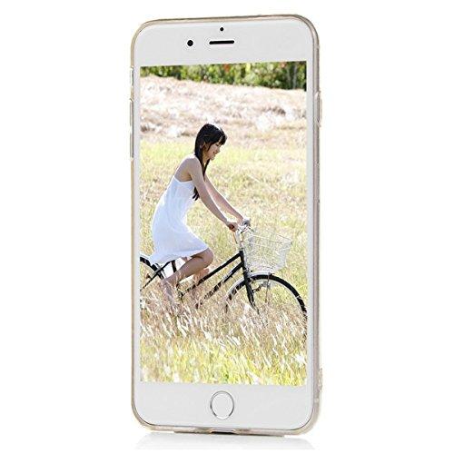 GrandEver iPhone 7 Weiche Silikon Hülle Transparent Rückschale TPU Bumper Durchsichtig Schutzhülle mit Sonne Blume Muster Kristallklare Handytasche Anti-Kratzer Stoßdämpfung Ultra Slimcase Rückseite S Gold