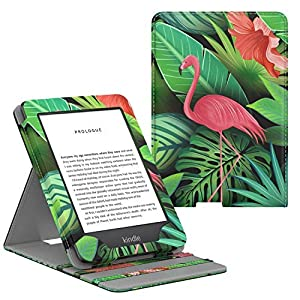 MoKo Case Fits All-New Kindle (10th Generation - 2019 Release Only), Vertical Flip Protective Cover with Auto Wake/Sleep - Flamingo
