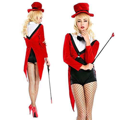 Kostüm Tuxedo Red - YRE Red Festive Magier Tuxedo Set, Cosplay Nachtclub DS Bühne Kostüm, Halloween-Kostüm (Durchschnitt Code)