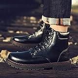 Lianaiec Bottes en cuir pour hommes Bottes Montantes Polyvalent Outillage Bottillons Chauds Et Confortables 44 Noir Brillant