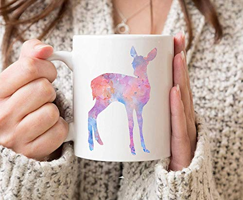 Fawn Deer Mug - Deer Gift - Colorful Deer Fawn Watercolor Animal Art Mug - Fawn Coffee Mug - Unique Animal Gifts -