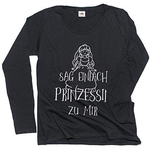 Prinzessin zu mir -Damen T-Shirt Frauen Langarm Shirt F277N-black-m ()