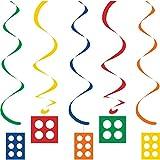 """Article: Suspensions à spirales """"Briques colorées"""" 5 pcs., Couleur: bleu, vert, rouge, jaune, orange, Longueur: env 76 cm (2 suspensions), env. 99 cm (3 suspensions), Matériau: film plastique, nylon, Taille: brique : env. 10 x 10 cm (2x), env. 10 x 1..."""