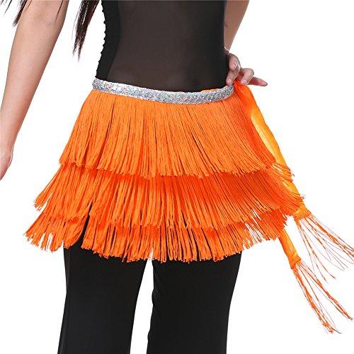 Dance Fairy Bauchtanz Hüfttuch drei Schichten Kurz Quasten Schal (Kostüme Traditionelle Indien Verschiedene Von)