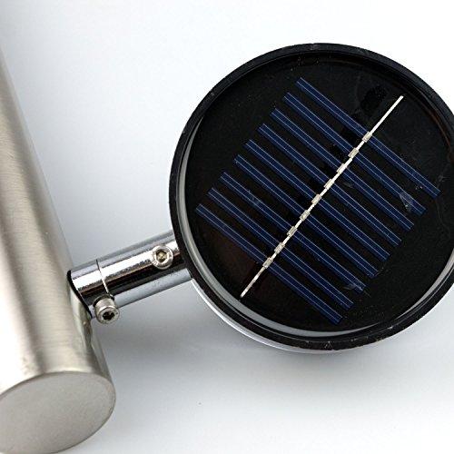 4 Stück Grundig LED Solarlampe 'Spotlight' Edelstahl 65cm inklusive Erdspieß 18 Lumen Power-LED – Solarleuchte, Wegbeleuchtung, Gartenlampe, Gartenleuchte - 3