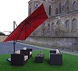 Ampelschirm Sonnenschirm   Rot   300 x 300 cm   Viereckig / Quadratisch   SORARA   ROMA   Polyester 250 g/m² (UV 50+)  Kurbel Mechansimus & 360º Rotating Device   Incl. Schutzhülle & Kreuzfuß for Parasol