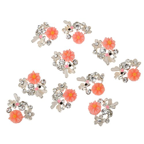 10 Blatt 3D Nagelkunst Nagelschmuck Perlen Nagel Spitze Nail Tips Dekoration Nagelstudio - Rosa Blume, 1.5 x 1.2CM