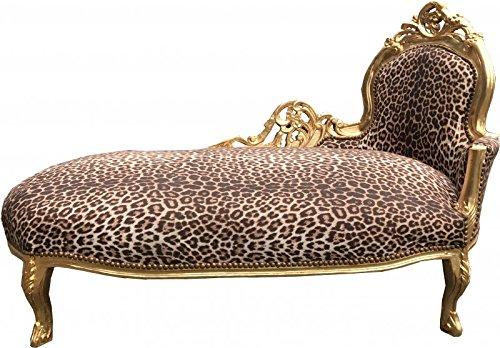 Casa Padrino Barock Chaiselongue King Leopard/Gold - Möbel Liege Recamiere -