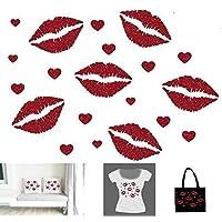 Motif 6 Lèvres Bisous Bouches + 14 Petits Coeurs Pailletés . Transfert Appliqué Patch écusson en flex thermocollant pour tissus
