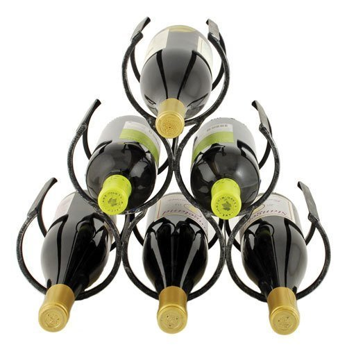 TWINE the Wine Shrine Pyramid Triangular Wine Storage Bottle Rack for Counter Top - Holds 6 Bottles by F&T Counter Rack