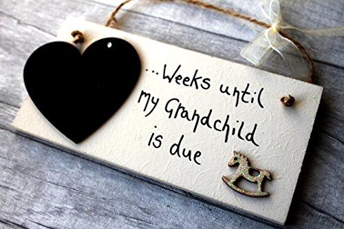 MadeAt94 Baby Shower Countdown Plaque Grandparent 1st Grandchild Gift Announcement