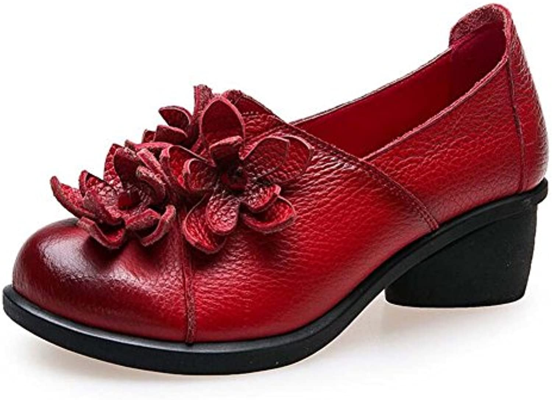 Pattino loafer slip sulle ballerinas ballerinas ballerinas mocassino 5cm tacco chunkly rossoondo piede scarpe da corte donna nappa fiore... | Facile Da Pulire Surface  dec572