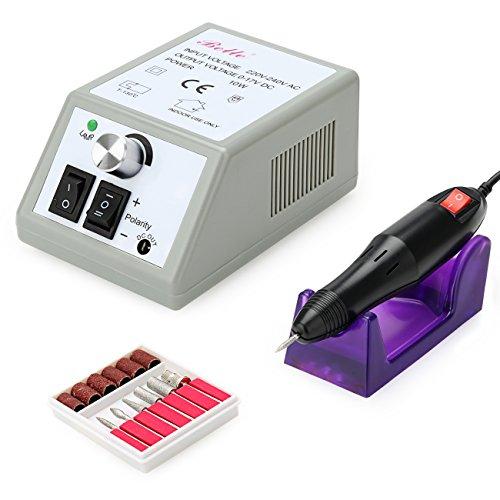 Belle électrique de l'ongle Drill Manucure Pédicure Fichier + 6pcs Bits Gris 220V 20000RPM