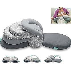 Stillkissen Mutterschaft Kissen Krankenpflegekissen zum Stillen,Einstellbare Höhe,Grau,maschinenwaschbar