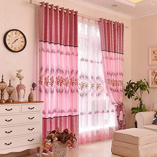 Xpy-curtain tende a drappeggio soggiorno intessuto rosa lusso ricamo peonia in cotone e linofinito finestra dal pavimento al soffitto, 250, a
