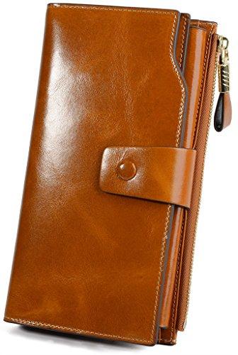 Yaluxe Women's RFID Blocking Wallet Large Capacity Luxury Wax Genuine Leather Wallet Purse With Zipper Pocket