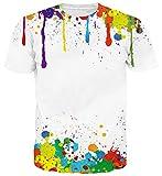Goodstoworld 3D T Shirt Bunt Graffiti Druck Herren Damen Printed Sommer Lustig Hippie Beiläufige Kurzarm T-Shirts Tshirt L