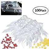 Queta Noeud Papillon Voiture Mariage 100 PCS et Confetti 2 Pack (Jaune et Rouge) pour La Décoration Mariage et Fête