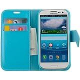 N19 Hellblau Handytasche im Bookstyle für Samsung Galaxy S3 i9300 i9305 Schutzhülle Schutzschale Bumper Tasche Etui Case Hülle Lightblue