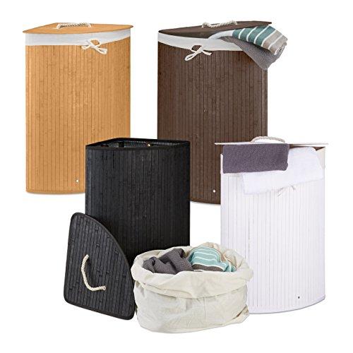4 x Eckwäschekorb im Family Set, Wäschetrennsystem aus Bambus, Wäschesammler mit herausnehmbarem Wäschesack, je 64 L, schwarz, weiß, natur, braun