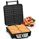 Andrew James Waffle Maker 4 Slice Belgian Style Electric Machine with Non-Stick Plates