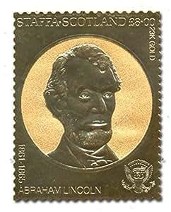 Rare 23 carats feuille d'or Abraham Lincoln président américain timbre - Staffa Ecosse, 1861 - valeur 1865 / du visage £ 8