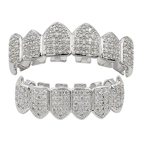 MagiDeal Kristall Verschönerung obere & untere + 2 Modellierelemente - Zahn Schmuck - Silber