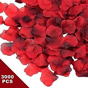 Rosenblätter, 3000 Stück Rosa Rosenblüten Bordeaux Rosen Blätter Blüten Kunstblumen Seidenblumen für Hochzeit Deko…