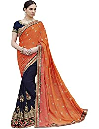 Diva & Diya Women's Orange And Navy Georgette Saree For Women Latest Design 2018 With Blouse Piece(2411# Sarees)