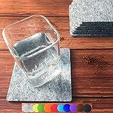 Lindong Filzuntersetzer quadratisch 8er Set Eckig 10x10cm Glasuntersetzer Getränkeuntersetzer aus Filz für Tisch und Bar Glas Gläser Tassen grau