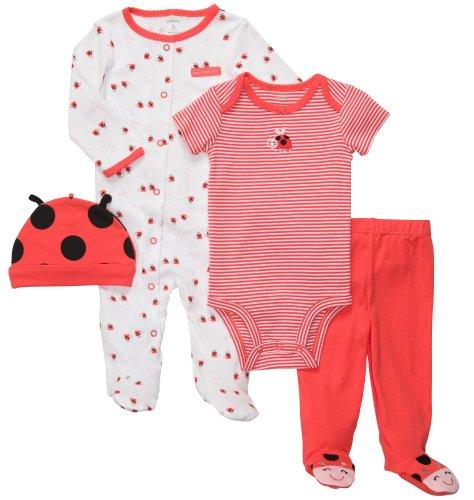Carter's Bekleidungsset Baby 4 teilig Schlafanzug Mütze Body Hose (0-24 Monate) Outfit Kombination (50/56, rot/weiss/grau)