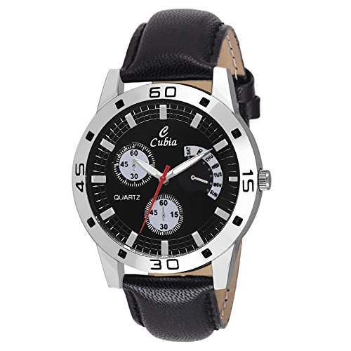 Cubia Exclusive Black Leather Analog Watch For Boys & Mens