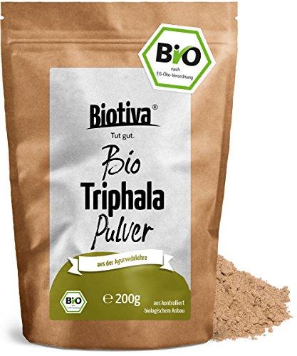 Amalaki Pulver (Triphala Bio Pulver - 200g - aus Amalaki, Haritaki, Bibhitaki - Ayurveda Biotriphala - Abgefüllt und Kontrolliert in Deutschland (DE-ÖKO-005) - 100% Vegan - GP: € 7,95/ 100g)