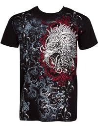 Sakkas Tête d'aigle et Fleur de Lys En relief argent métallique Manches courtes Col rond Coton T-Shirt Fashion homme