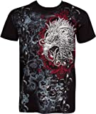 Sakkas Eagle Head and Fleur de Lis Metallic Silver Embossed Cotton Mens Fashion T-Shirt