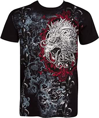 TGEagleFleur645 Eagle Head and Fleur de Lis Metallic Silver Embossed Short Sleeve Crew Neck Cotton Mens Fashion T-Shirt - Black / Small