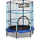 """Klarfit """"Rocketkid"""" Mini Trampolin kleines Indoor oder Gartentrampolin mit Sicherheitsnetz für Kinder ab 3 Jahre (140cm Durchmesser, mit Netz, komplett verschließbar, Höhe: 150cm, Bungeeseile)"""