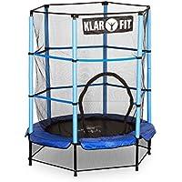 Klarfit Rocketkid cama elástica infantil con red de seguridad (140 cm de diámetro, apta para exterior o interior, peso máximo 50 kg, varillas de sujeción acolchadas, lona resistente a los rayos UV) - azul