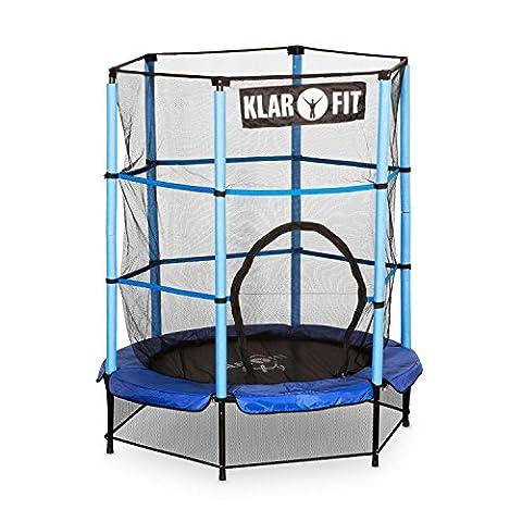 Klarfit Rocketkid Trampolin Gartentrampolin (140 cm Durchmesser, verschließbares Sicherheitsnetz, Bungeeseil-Federung, bis max. 50 kg belastbar, Stangen gepolstert)