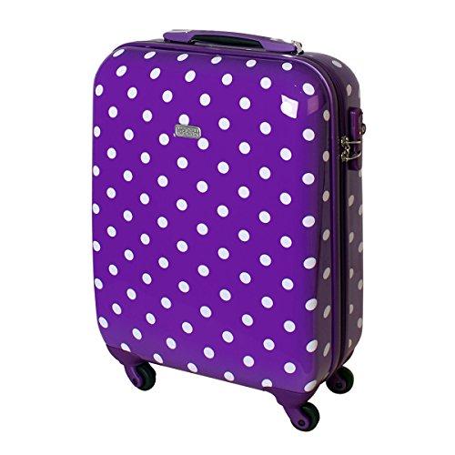 Karry Hartschalen Reise Koffer TSA Handgepäck 55 x 40 x 20 Punkte Lila 30 Liter 813/818