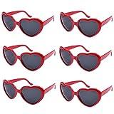 Colores Neon Articulos de Fiesta Gafas de sol de Corazón (Rojo)