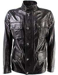 Chaquetas Hombre BELSTAFF 71050387 Woodbridge Jacket Man Black Cuero Negro Nueva